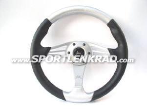 Grinta Sport-Lenkrad Polyurethan sw./silber, Alu-Speiche