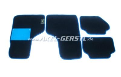 Fußmatten-Satz, schw./blauer Rand, 4-tlg., Alu-Platte blau
