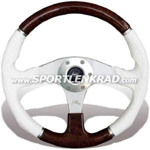 Evolution Sport-Lenkrad, Polyurethan weiß/Holz, 36 cm