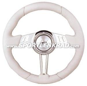 Grand Turismo Sport-Lenkrad, Leder wß./35 cm, Aluspeiche