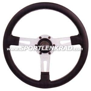 Sharav Sport-Lenkrad, Leder schwarz, silb. Speiche, 34 cm