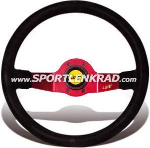Jet Sport-Lenkrad, Leder sw./35, rotmetallic Speiche