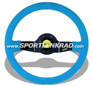 Jet Sport-Lenkrad, Wildleder blau/35, sw. Speiche