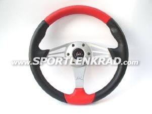 Grinta Sport-Lenkrad, Polyurethan sw./rot, Alu-Speiche