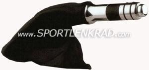 Handbremse kpl., Alu poliert/schwz. Leder (Manschette+Griff)