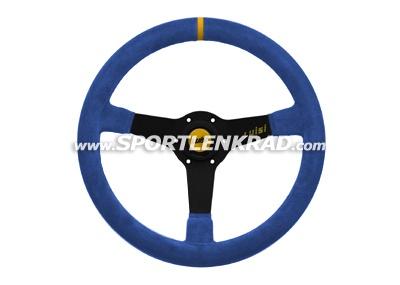 Mirage Corsa Sport-Lenkrad, Wildleder blau/35, sw. Speiche