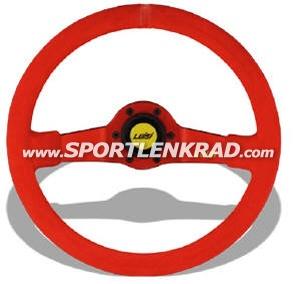 Jet Sport-Lenkrad, Wildleder rot/35, rotmetallic Speiche