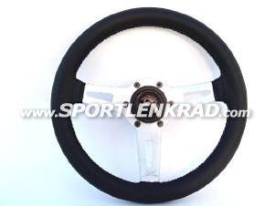 Sharav Sport-Lenkrad, Leder schwarz, silb. Speiche, 31 cm