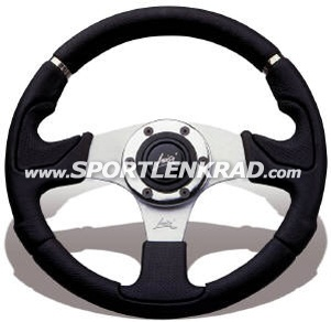 Kobra Evo Sport-Lenkrad, sw. Polyurethan m.Metallring/32cm