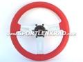Sharav Sport-Lenkrad, Leder rot, silberne Speiche