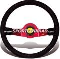 Jet Sport-Lenkrad, Wildleder sw./35, rotmetallic Speiche